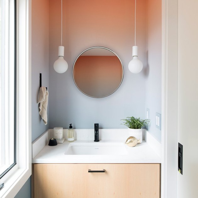 pendant lighting bathroom idea for pink and blue powder room