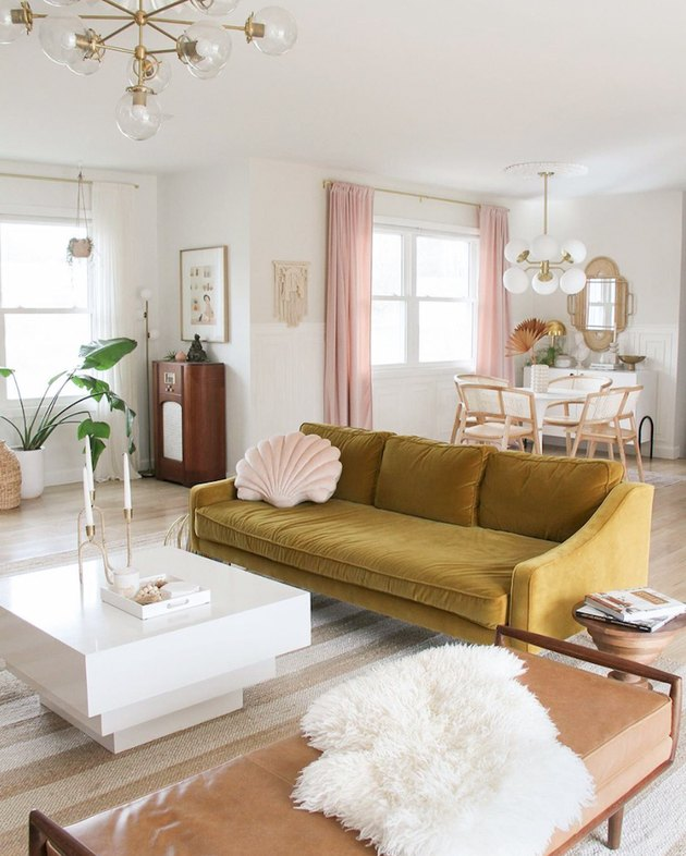 Scandinavian colors with blush and yellow living room