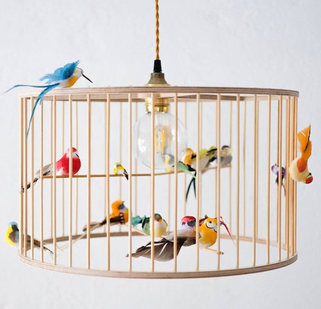 pendant light with fake birdcage