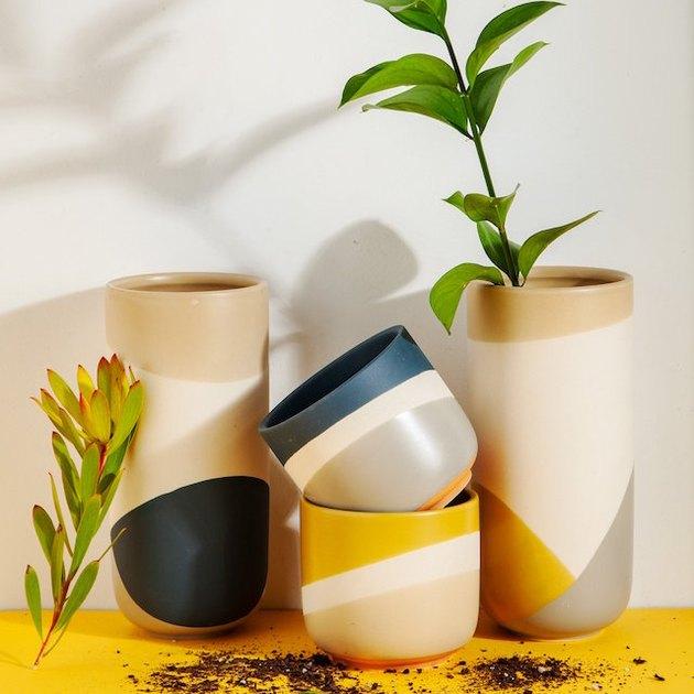graphic stoneware vases