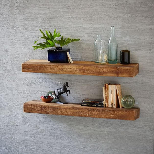 Reclaimed wood floating shelves in medium finish