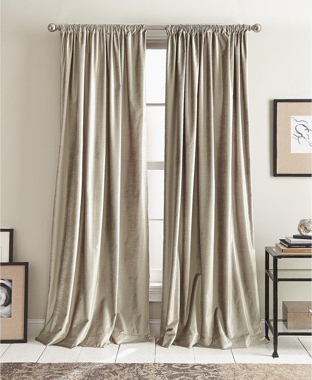 shiny silver velvet drapery panels