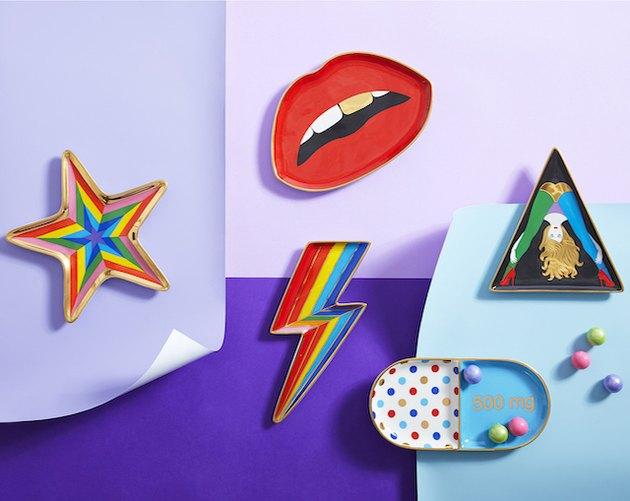 multicolored trinket trays