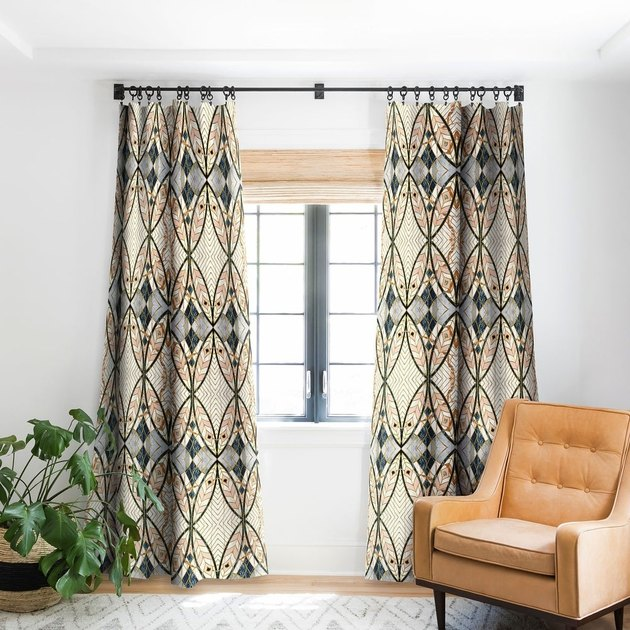 blackout curtains with mosaic pattern motif