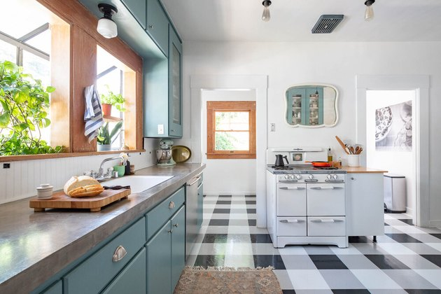 Black and white plaid vinyl modern kitchen flooring in modern vintage kitchen