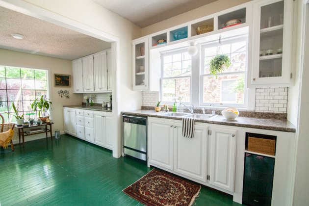 Painted green wood modern kitchen flooring in white kitchen