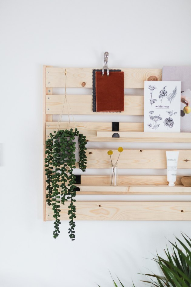 Turn IKEA decor into a wall-mounted shelving unit