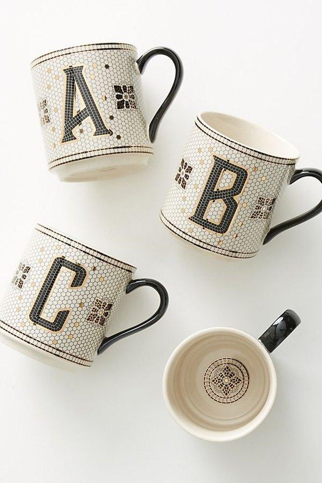 anthropologie tiled margot monogram mug