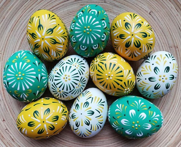eggs decorated in various colors and patterns