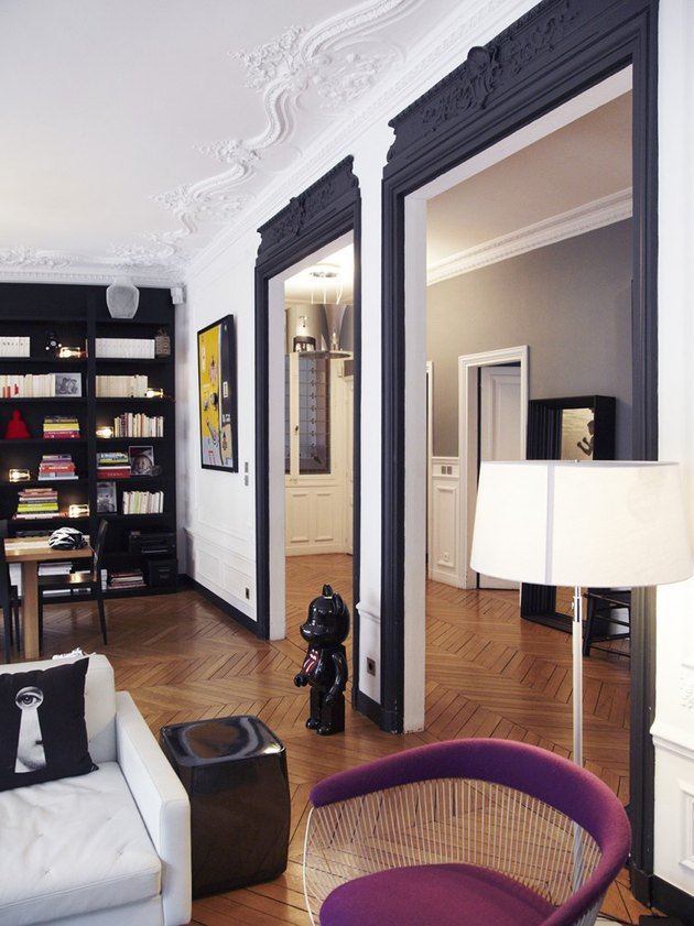 crown molding and trim ideas in Paris apartment