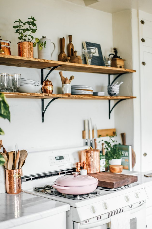bohemian kitchen with copper and wood details