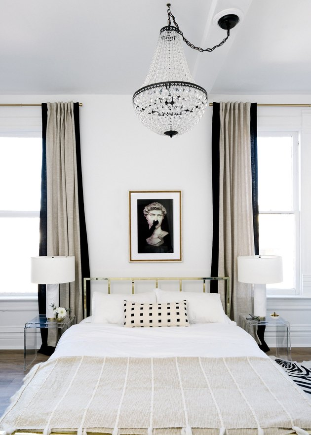 black and white minimal hollywood bedroom