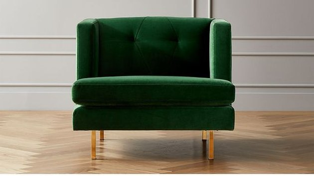green and gold art deco chair from CB2