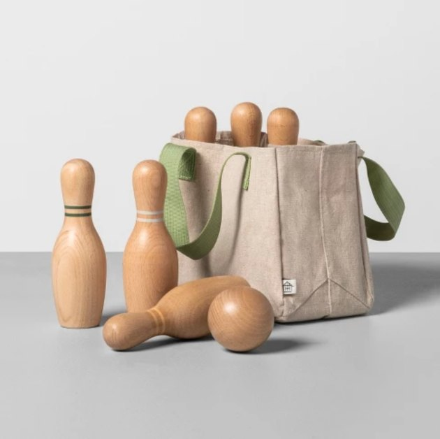wooden bowling set