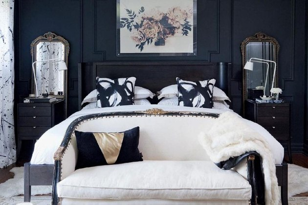 black and white vintage hollywood bedroom