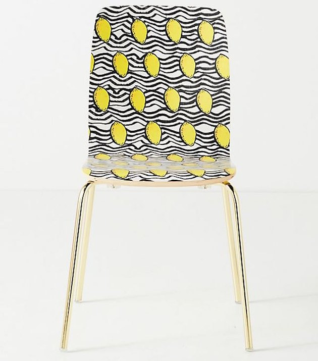 acrylic chair with yellow lemon graphic