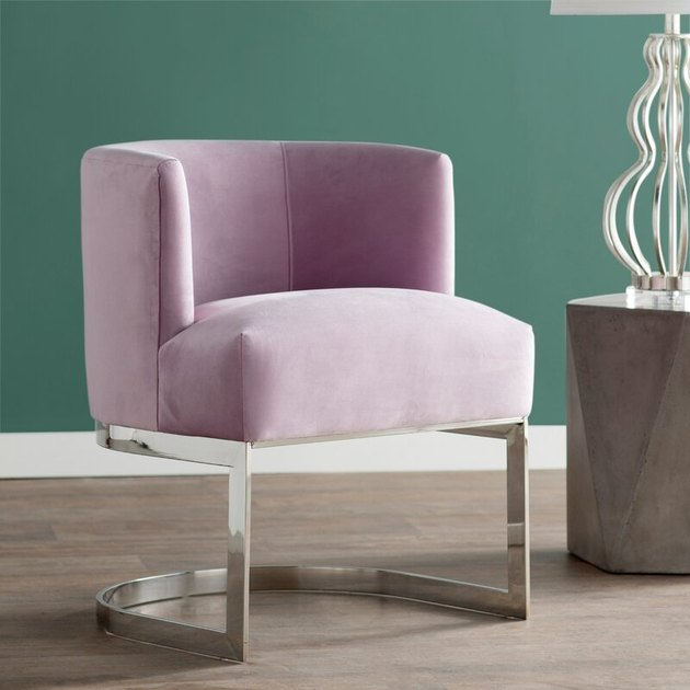 pastel purple velvet upholstered side chair