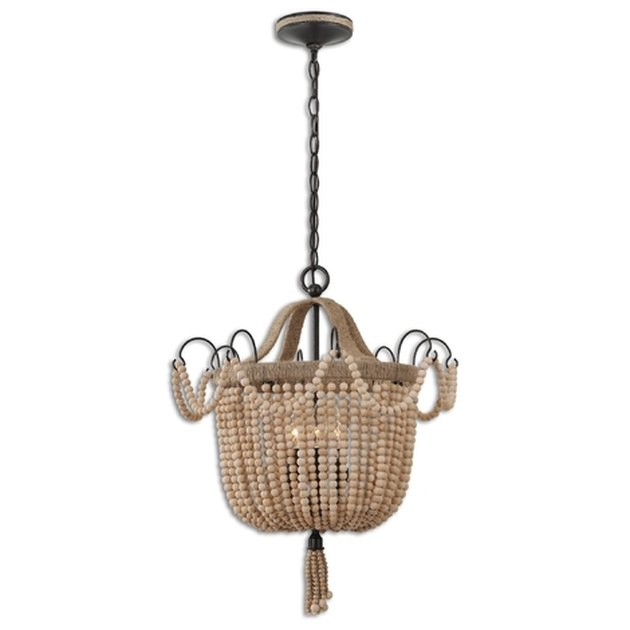 Tan beaded chandelier