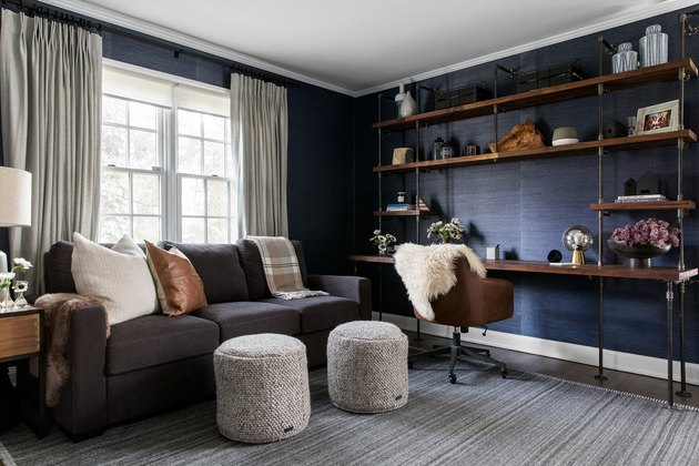 navy walls comfortable living room