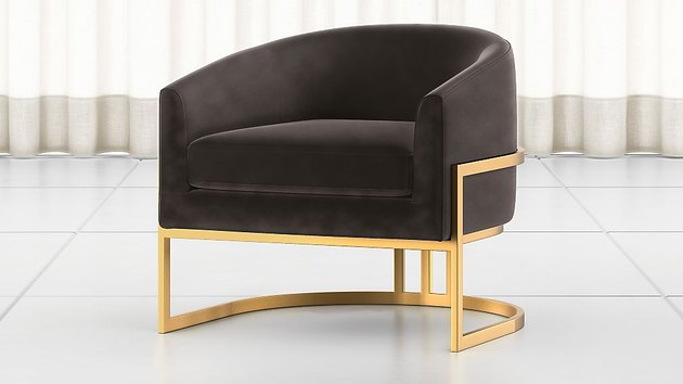 grey and gold art deco chair from Crate and Barrel
