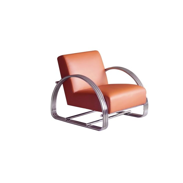 leather and stainless steel lounge art deco chair from Overstock