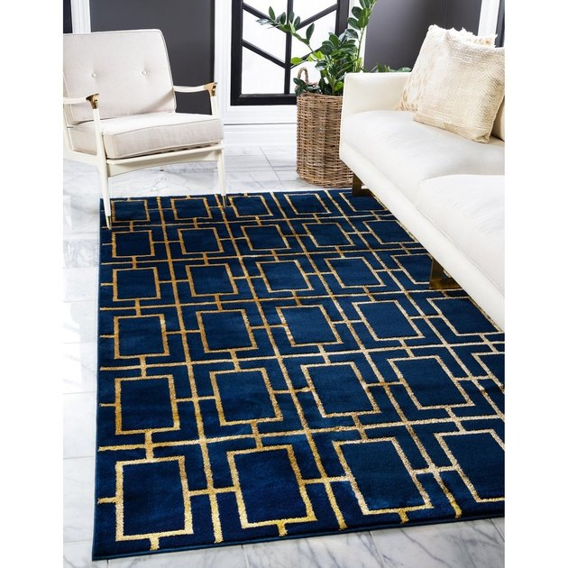 art deco area rug with trellis pattern