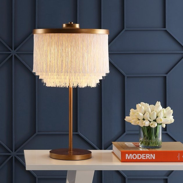 metal table lamp with fringe shade
