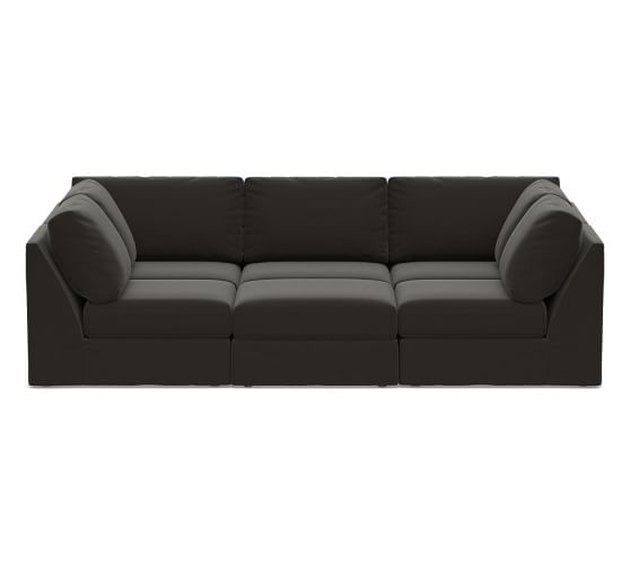 gray slipcovered pit sectional