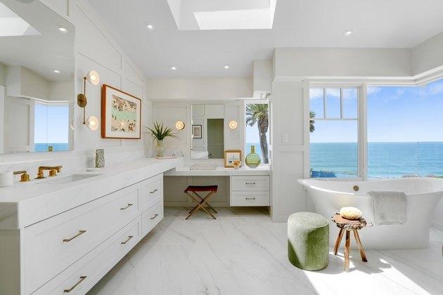 Luxury L-shape vanity with ocean views