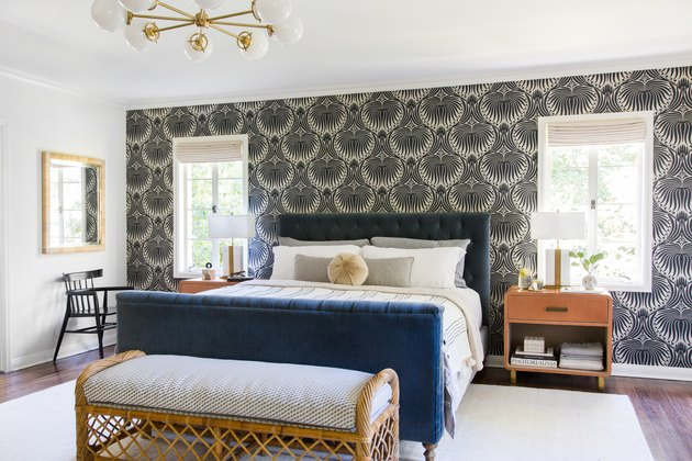 art deco bedroom with traditional accents
