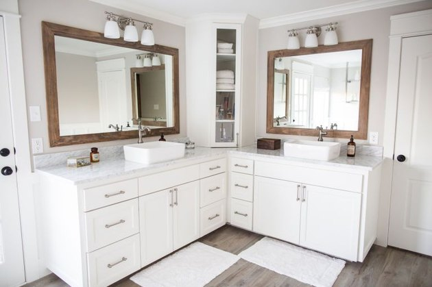 Modern traditional master bath with L-shaped vanity