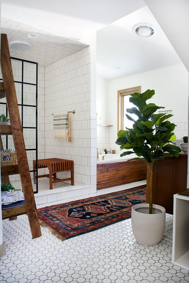 Bathroom with vintage rug