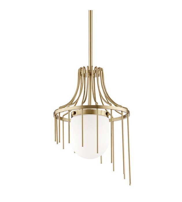 Art deco lighting with globe-style bulb and brass, linear details