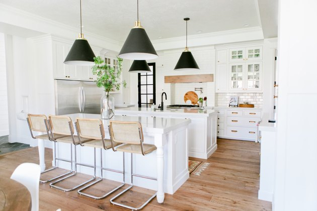 white kitchen with double white islands