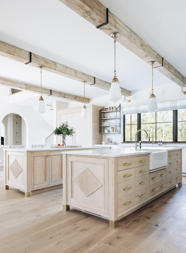 double wooden islands in farmhouse kitchen