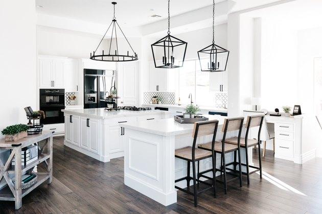double islands in industrial kitchen