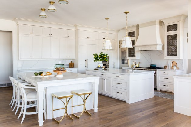 white kitchen with double islands