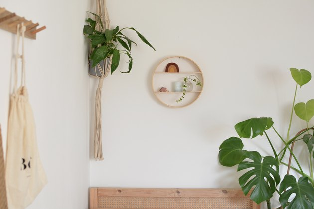 Wooden circle shelf on wall above bed. Green plants either side of shelf.
