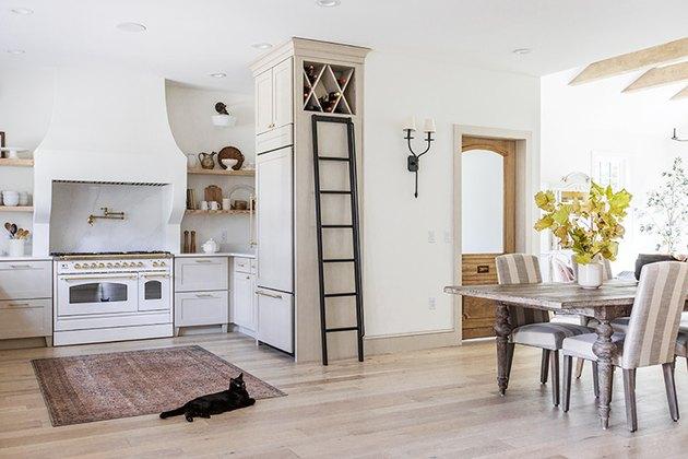 Light wood farmhouse kitchen floor