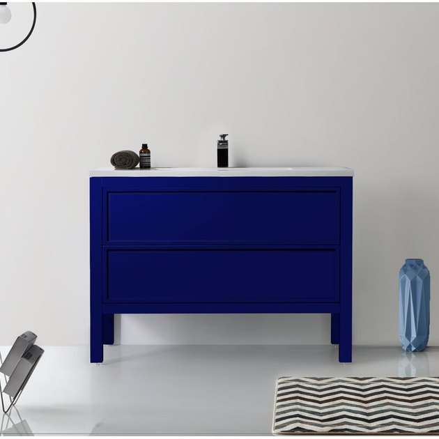 modern bathroom vanity with blue finish