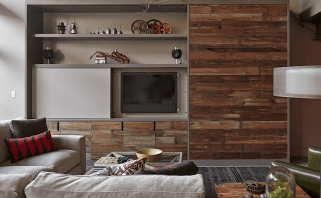 family room ideas with TV with reclaimed wood panelling