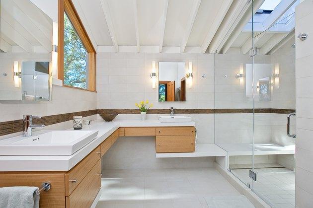 L-shaped bathroom vanity