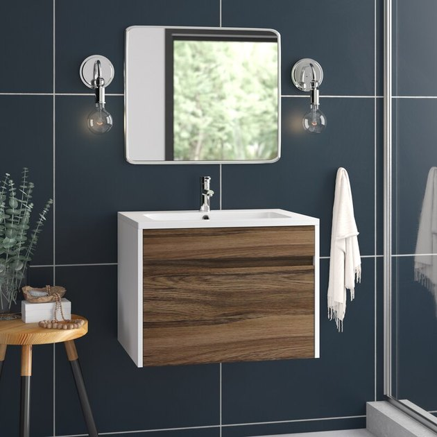 two tone wall mounted bathroom vanity