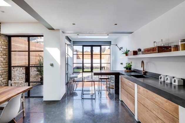 polished concrete kitchen with extra thick countertops
