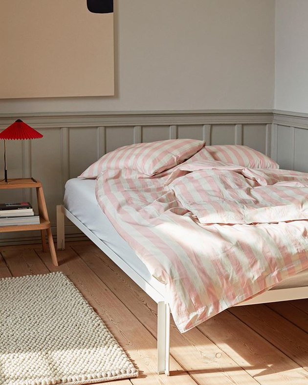 hay stripe duvet cover in pink