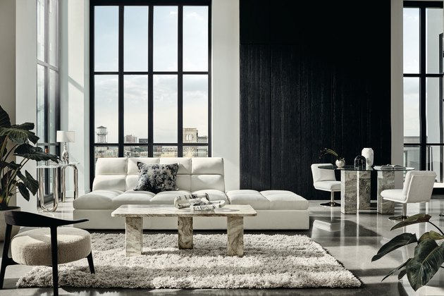 white and black minimalist living room