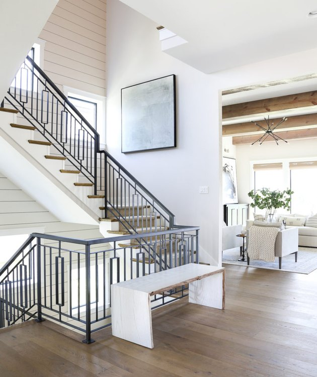 art deco staircase in modern farmhouse home