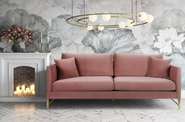 Wayfair pink velvet couch