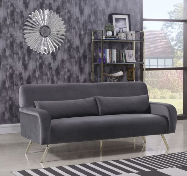 Joss & Main gray velvet couch