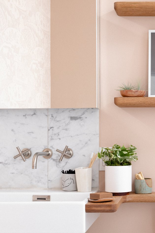 wall-mounted sink with wall-mounted faucet
